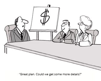 cartoon of meeting and business plan on whiteboard with dollar sign