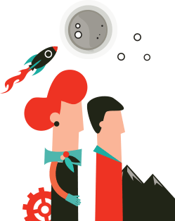 Man and woman in the moonlight illustration